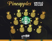 Pineapples Full Wrap Starbucks coffee CUT file juice svg Cheetah Starbucks Logo for Silhouette or Cricut DIY svg cut file digital vector