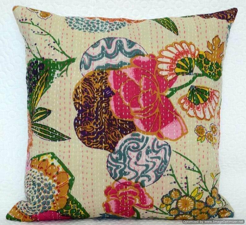 Indian Handmade Kantha Decorative Cushion Cover Throw Farmhouse Pillow Cover Sofa Cushion Pillow Cases Home Decor Kantha Work Cotton Cover