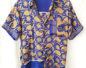 Silk Shirt, fit S M Short Sleeve, Festival Boho Tribal