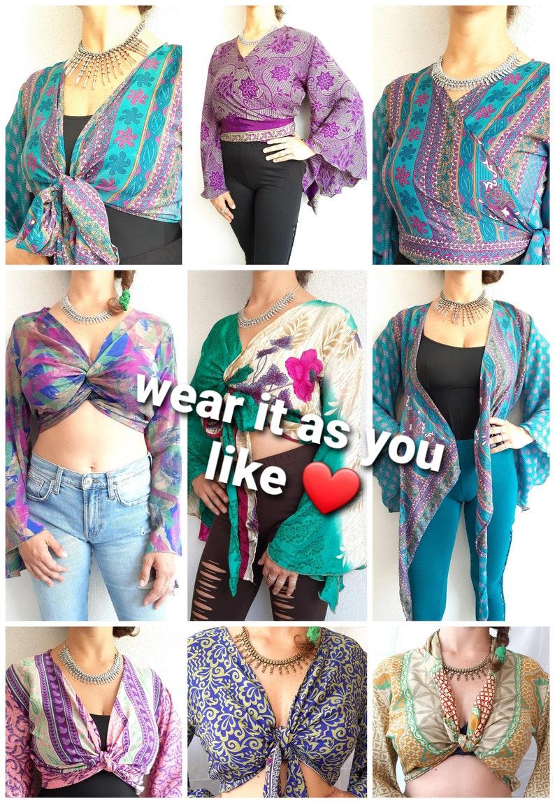Silk Wrap Crop Top Bell Sleeve Hippie Boho \u2022 gypsy retro \u2022 60s 70s \u2022 festival clothes \u2022 batwing flares