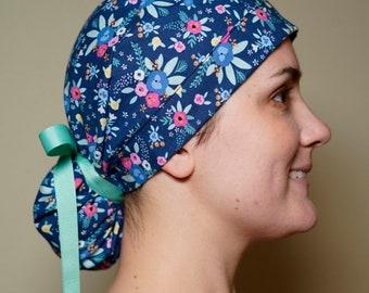 Petite blue garden party scrub hat Bonnet Head Designs Rifle paper surgical hat