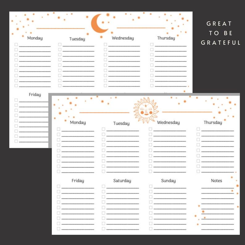 4x weekly printable planner weekly calendar black and orange sun moon stars