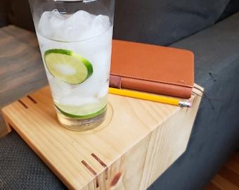 Handmade wood couch arm table. Custom. Sofa arm table. Sofa arm tray. Couch arm tray. Naturally reusable and sustainable.
