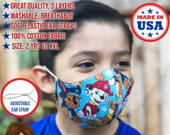 Paw Patrol Fabric FITTED Face Mask for kids and adults, 100% washable Cotton, Adjustable Ear Straps, Made in USA, 3 layer Kids Face Mask