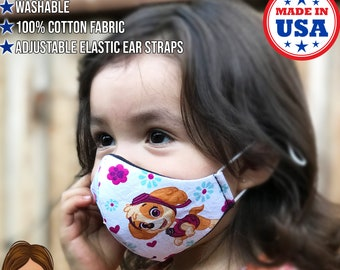 Reusable 100/% Cotton Reversible 2 in 1 Kids Face Mask Made in USA Paw Patrol face mask Machine Washable Triple layer Adult Mask