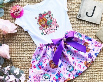 Paw Patrol Birthday Outfit ~ Includes Top Sequin Shorts and Hair Bow ~ Customize in any colors!