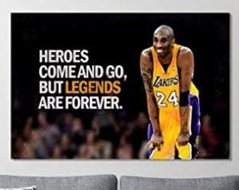KOBE BRYANT HEROES COME AND GO PRINT ON FRAMED CANVAS WALL ART HOME DECORATION
