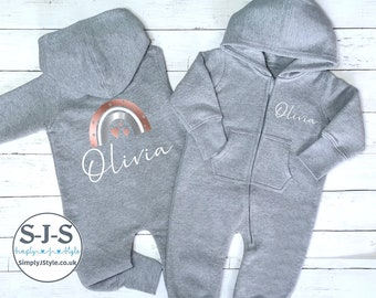 fleece lined personalized pyjamas Personalised Christmas hooded romper zip up all in one
