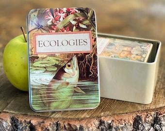 Ecologies Tin - Durable Metal Travel Box for Card Games, Natural Treasures, Trinket Storage - Featuring Beautiful Vintage Art