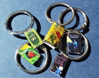 mini book charm keychain