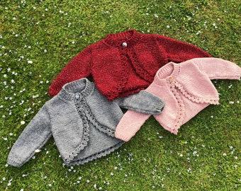 Hand Knitted Girls Bolero Cardigan - 2-3 years