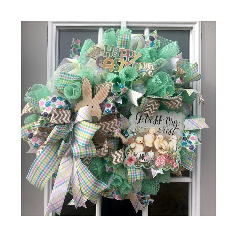 Bless our nest Easter wreath Easter decor bunny decor image 0