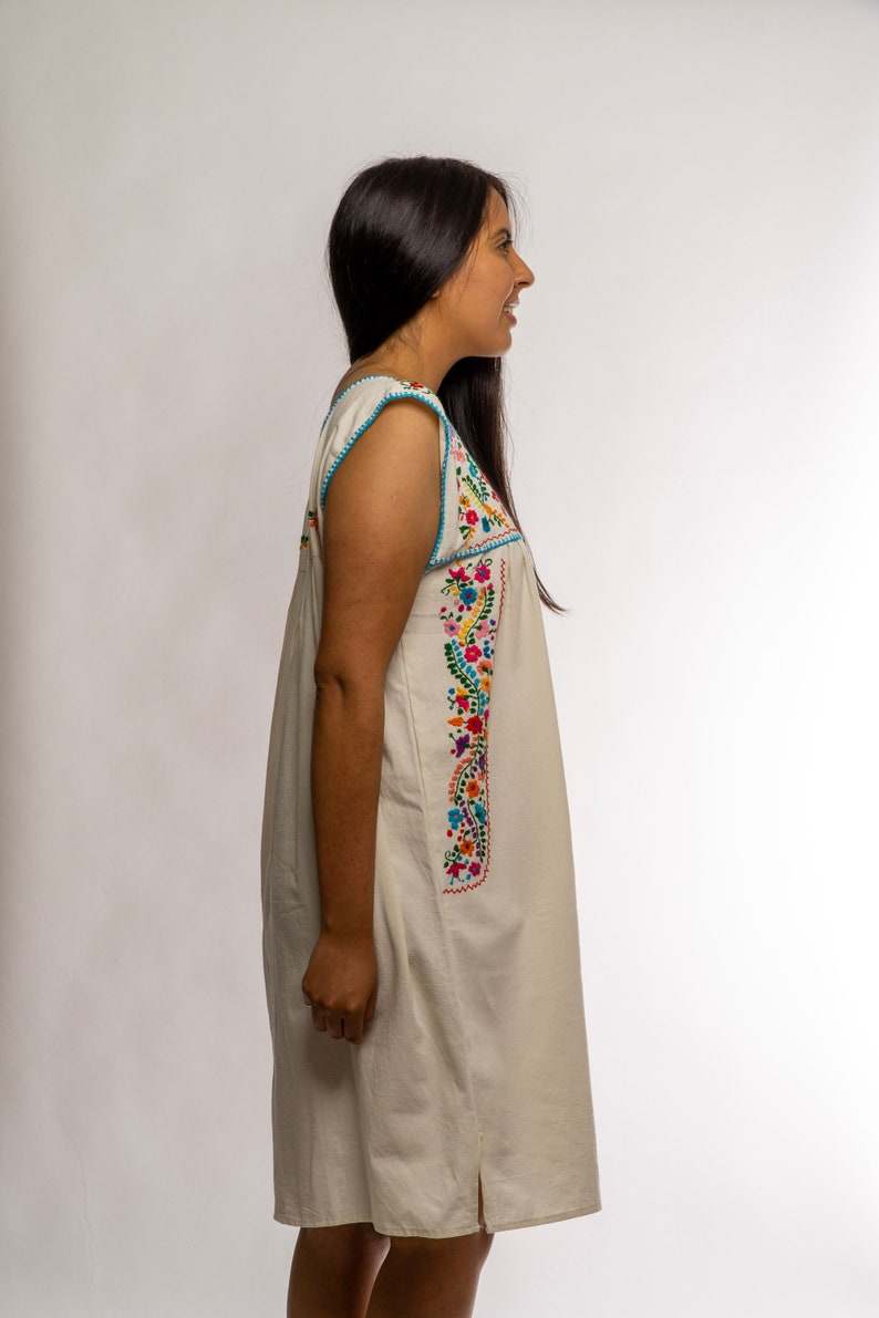 Unique Design Festival Dress Hand Embroidered Oaxacan Mexican Hand Stitched Dress Colorful Traditional Dress