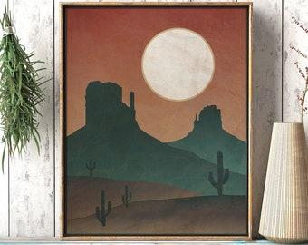 Desolate Desert Dusk: Southwestern Sunset Landscape - Rustic Printable Wall Art - Wall Decor Living Room Print - Digital Instant Download