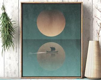 Ship At Sea - Rustic Nautical Viking Printable Wall Art - Ocean Boat Sailing Moonlight Décor Living Room Print, Digital Instant Download