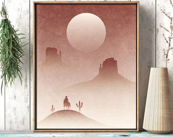 Go West: Southwestern Landscape - Rustic Cowboy Printable Wall Art - Desert Décor Minimalist Living Room Print - Digital Instant Download