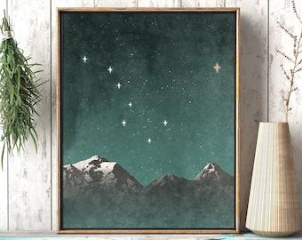 Big Dipper: Mountain Landscape - Rustic North Star Polaris Printable Wall Art - Wilderness Décor Living Room Print, Digital Instant Download