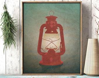 Antique Lantern Rustic Night Print: Minimalist Wall Art Print, Printable Digital Decor, Living Room Art Poster, Digital Instant Download