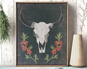 Desert Cow Skull: Southwestern Cowboy Art Print, Rustic Wall Art Decor, Illustrated Floral Skull Art, Printable Digital Instant Download