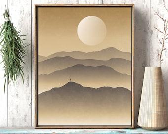 Mountain Scene 2- Rustic Adventure Inspiration Printable Wall Art, Landscape Nature Wander Décor Living Room Print, Digital Instant Download