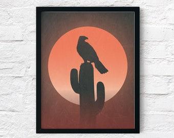 Desert Hawk On Cactus Sunset: Printable Rustic Art Print, Desert Landscape, Southwestern Printable Wall Decor - Instant Digital Download