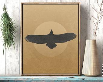 Soaring Eagle Flying Under Sun Light: Rustic Nature Digital Printable Wall Decor Art Print - Wilderness Eagle Poster  - Instant Download