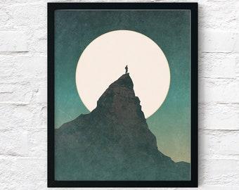 Mountain Top - Rustic Adventure Inspirational Printable Wall Art, Landscape Nature Wander Décor Living Room Print, Digital Instant Download