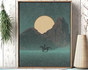 Roaming Paladin: Riding Cowboy On Horseback Desert Night - Rustic Southwestern Printable Wilderness Landscape Wall Décor Art Digital Print