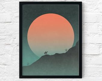 Cowboy Western Print, Southwest Night Moon Desert Horseback Sunset Adventure Wall Art Decor,  Landscape, Printable Digital Instant Download