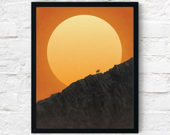 Strange Frontier: Wall of Stone Sunset, Cowboy Print, Adventure Wall Art Decor, Fantasy Scifi Landscape, Printable Digital Instant Download