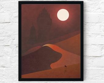 Strange Frontier: Dark Palaces, Cowboy Print, Desert Adventure Wall Art Decor, Fantasy Scifi Landscape, Printable Digital Instant Download