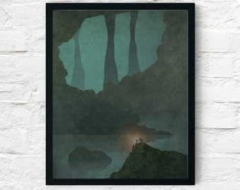 Strange Frontier: Into The Depths, Cowboy Art Print, Adventure Wall Art Decor, Fantasy Scifi Landscape, Printable Digital Instant Download