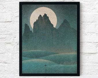 Strange Frontier: Vast Is the Night, Cowboy Print, Adventure Wall Art Decor, Fantasy Scifi Landscape, Printable Digital Instant Download