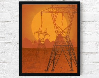 Strange Frontier: Forgotten Past, Cowboy Art Print, Adventure Wall Art Decor, Fantasy Scifi Landscape, Printable Digital Instant Download