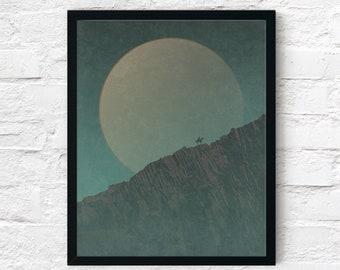 Strange Frontier: Wall of Stone (Night) Cowboy Print, Adventure Wall Art Decor, Fantasy Scifi Landscape, Printable Digital Instant Download