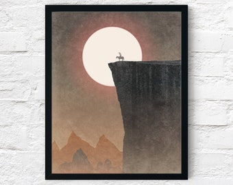 Strange Frontier: World's Edge, Cowboy Art Print, Adventure Wall Art Decor, Fantasy Scifi Landscape, Printable Digital Instant Download