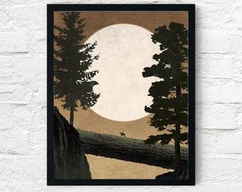 Strange Frontier: Unfamiliar Trails, Cowboy Print, Night Forest, Wall Art Decor, Fantasy Scifi Landscape, Printable Digital Instant Download