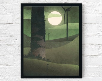Strange Frontier: Land of Giants, Cowboy Print, Night Ruins, Wall Art Decor, Fantasy Scifi Landscape, Printable Digital Instant Download