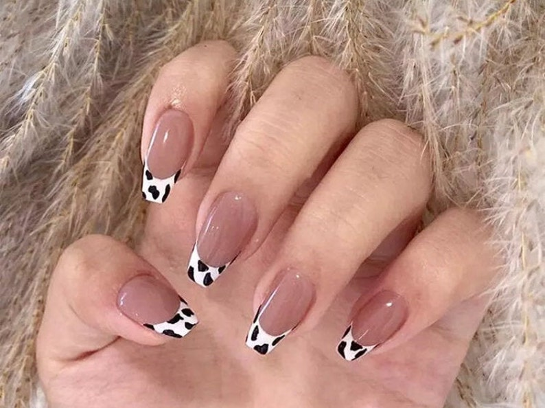 Press on Nails  Cow Print Press on Nails  Nude Coffin Nails image 0