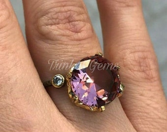 Natural Genuine Certified AAA Natural Colour Change Alexandrite/ Gold Plated Ring ,Round Shape Alexandrite Ring for men and women