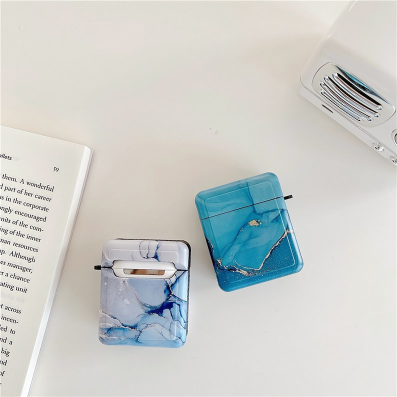 For Couple Case Gift For Her Him Simple Marble Pattern Soft Silicone Protective Cases With Keychain For Airpods 12 And Airpods Pro Case
