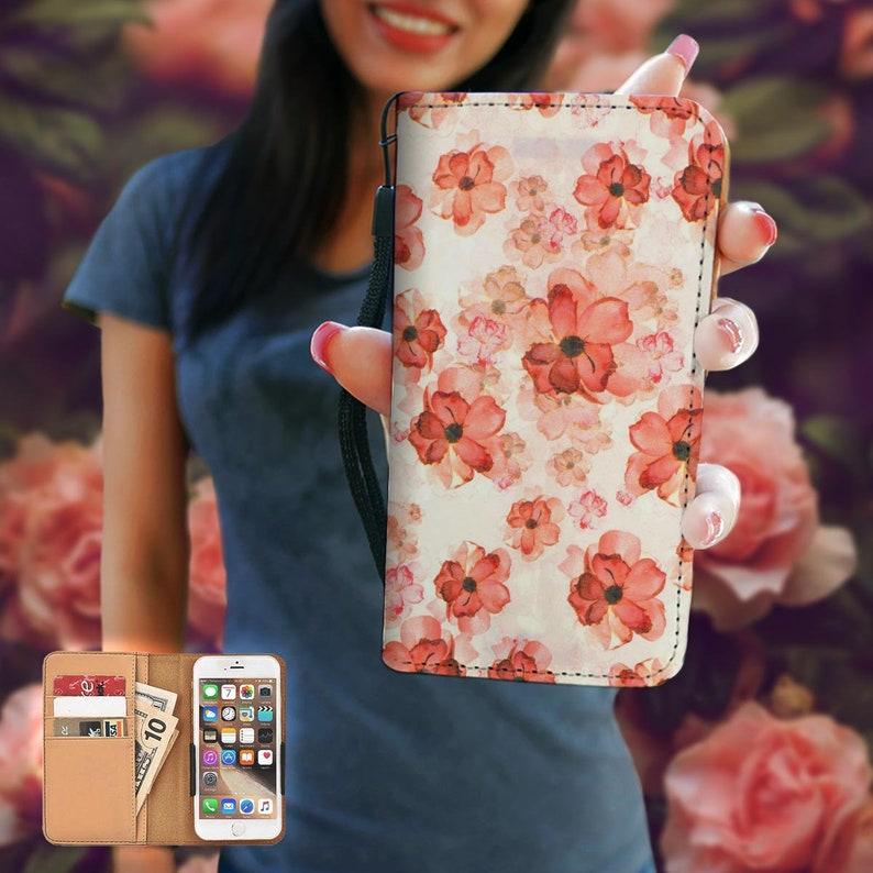6 Se Galaxy Note Art Gift 7 PLUS 7 Flowers RFID Phone Wallet Case