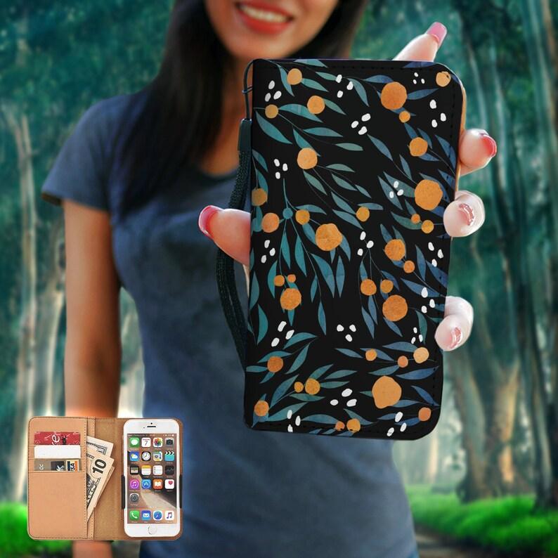 8 Se Galaxy Note Art Gift 5 Oranges RFID Phone Wallet Case iPhone