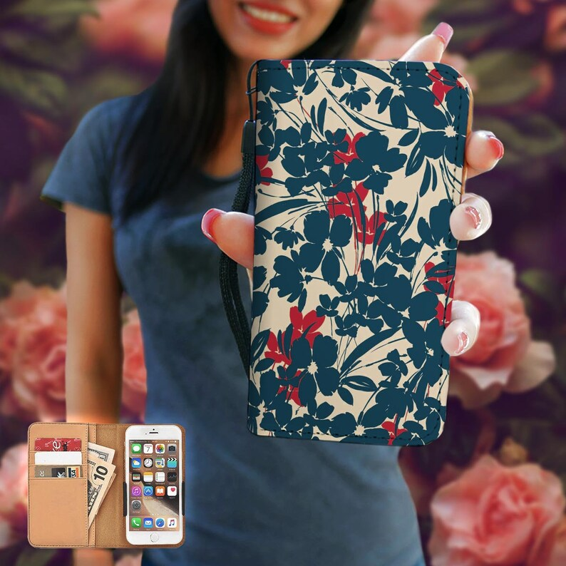8 Flowers RFID Phone Wallet Case iPhone X 6 7 PLUS 7 5 Se Galaxy