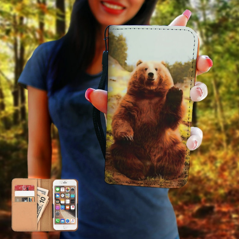 6 8 7 PLUS 7 Se  Galaxy Note Art Gift 5 Grizzly Bear RFID Phone Wallet Case iPhone X