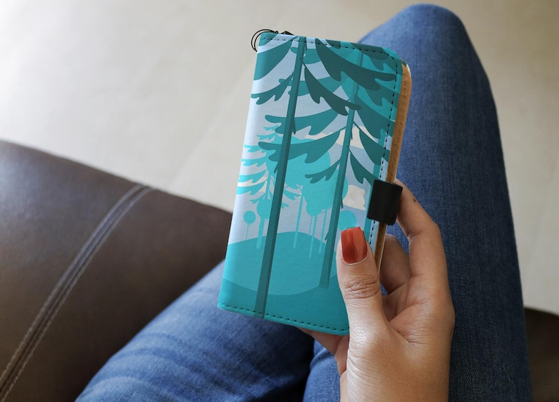Trees RFID Phone Wallet Case iPhone X 6 7 8 5 Se  Galaxy Note Art Gift 7 PLUS