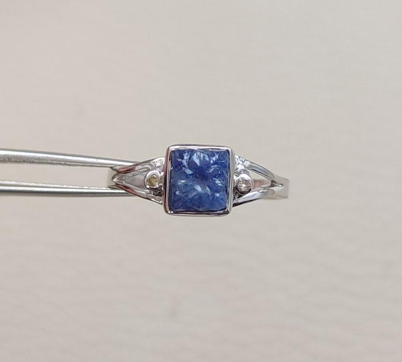 Blue Stone Ring Diamond Tanzanite Ring Gift For Her Vintage Tanzanite Ring Handmade Ring Carving Tanzanite ring Sterling Silver Ring