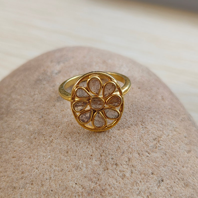 Natural Uncut Diamond Ring Ruby Victorian Ring Vintage Diamond Ring Raw Diamond Silver Ring Victorian Diamond Ring Antique Diamond Ring
