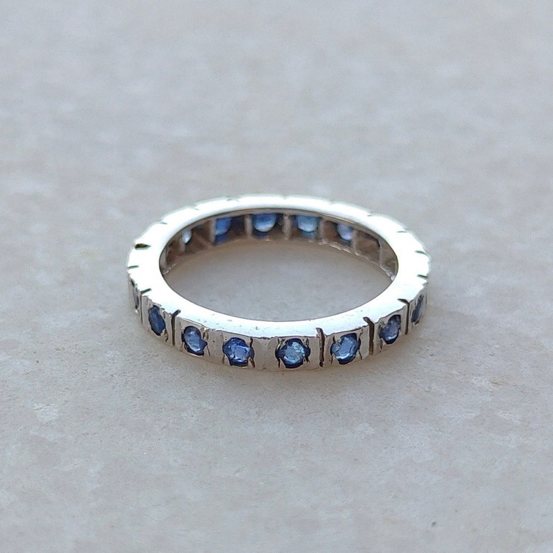Full eternity Sapphire 2 mm Band Ring Sterling silver Blue Sapphire ring September birth stone ring simple wedding engagement Ring !!!