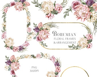 Burgundy Boho Wedding Wreath clipart Watercolor Bohemian ellipse Floral Frame Protea White Pink flowers Rose Eucalyptus leaves PNG